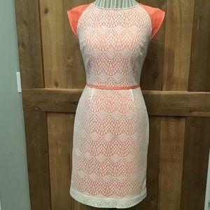 Alex Marie Crochet Dress Coral White EUC Size 6